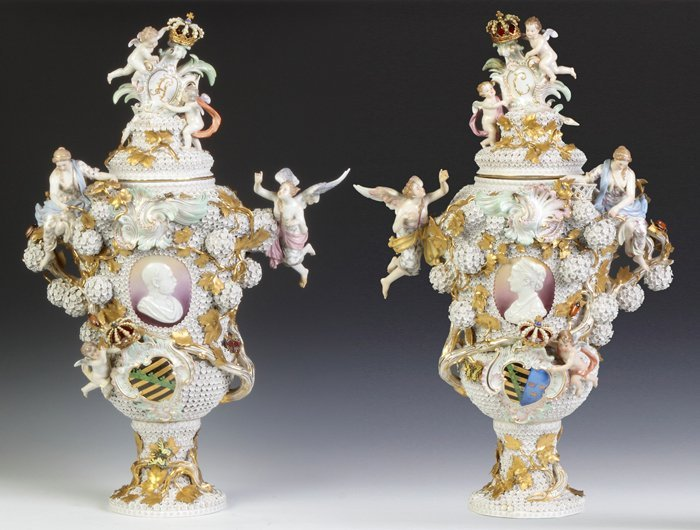 Pair of Monumental Meissen Armorial Covered Urns