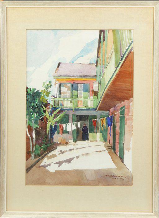 "Roy Martell Mason (American, 1886-1972) ""Patio on Royal"