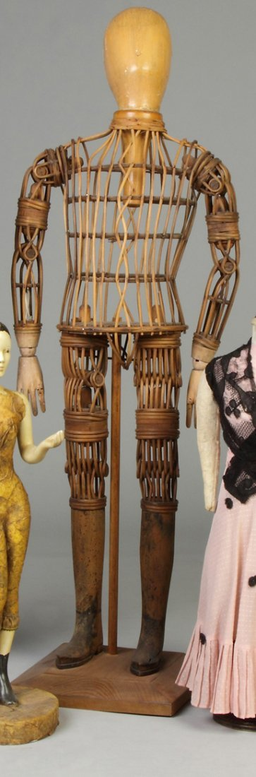 Articulated, Carved Wood & Rattan Model