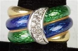 18K Two Tone Gold Ring wDiamonds  Enamel Work