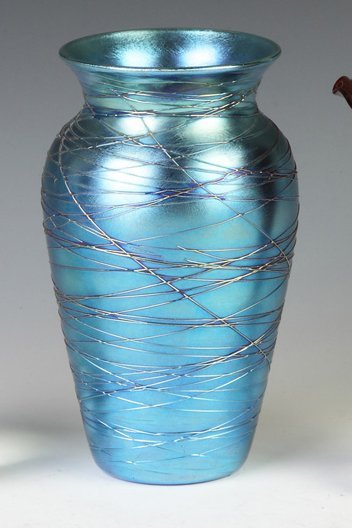 Durand Blue Iridescent Threaded Art Glass Vase