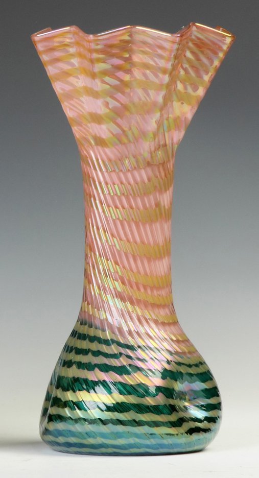 Austrian Ribbed & Decorated Vase