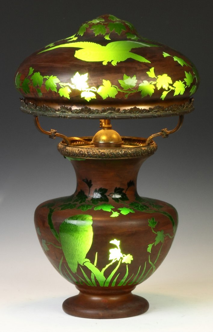 Unusual Lamp w/Engraved Owls & Landscape w/Copper