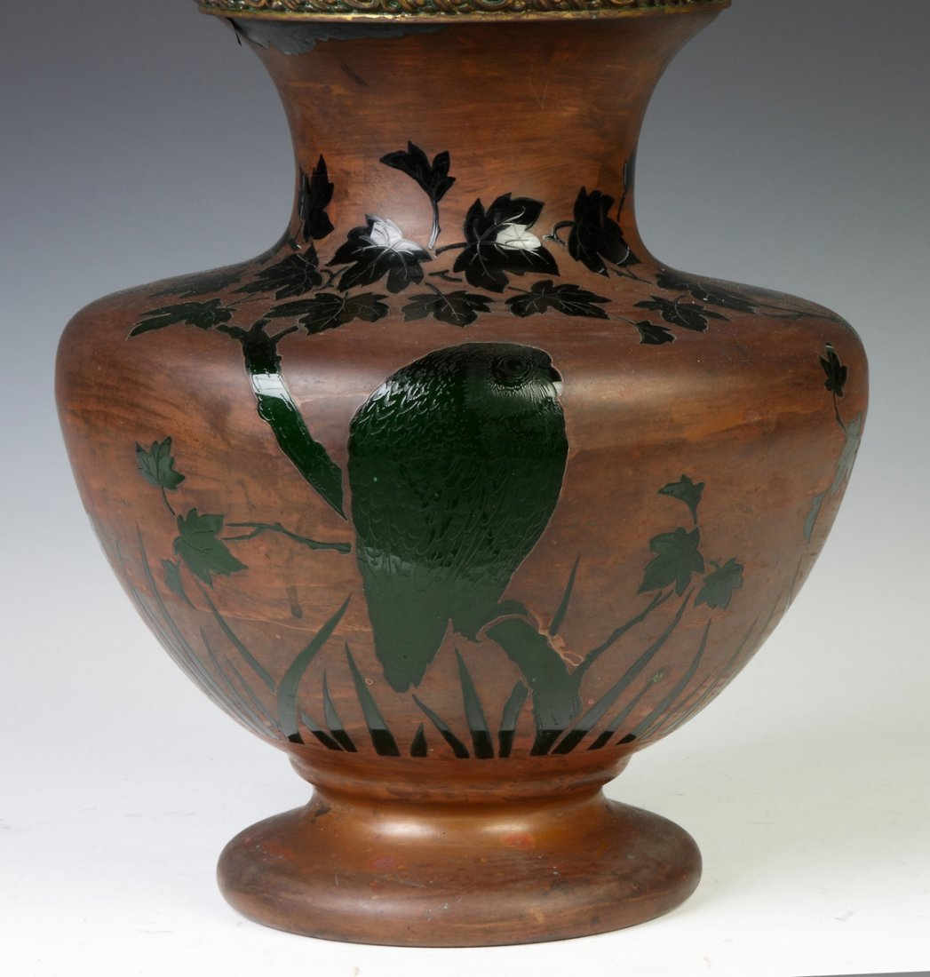 Unusual Lamp w/Engraved Owls & Landscape w/Copper - 2