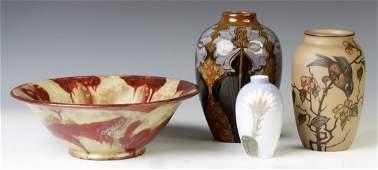 Four Pieces of European Art Pottery