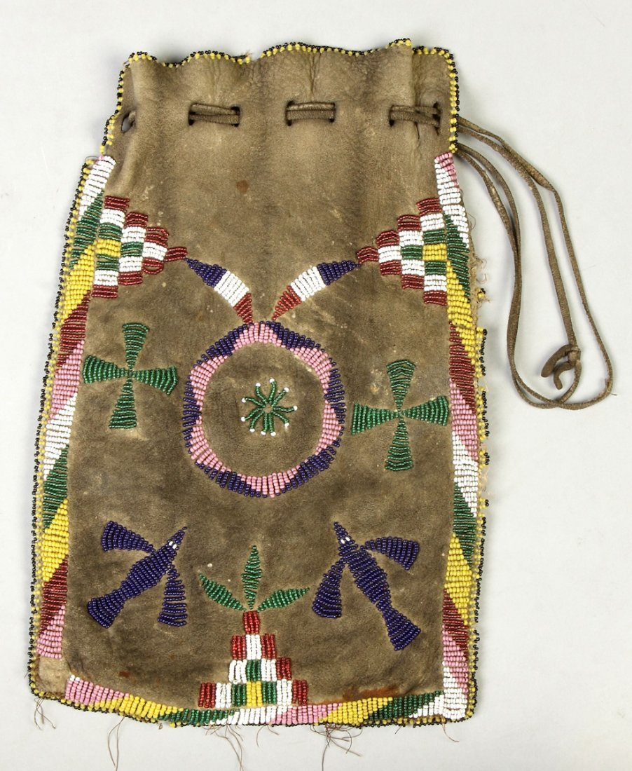 Apache Beaded Hide Drawstring Pouch