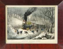 Currier  Ives American Railroad Scene