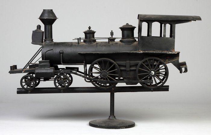 Painted Sheet Metal Locomotive Weathervane