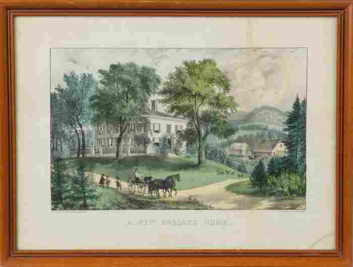"""Currier & Ives """"A New England Home"""""""