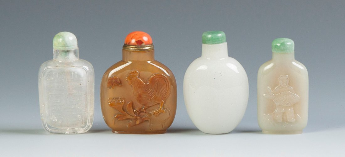 Four Chinese Hardstone & Glass Snuff Bottles