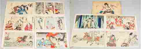 Eleven Japanese Wood Block Triptych Prints