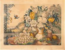 Currier  Ives Landscape Fruit  Flowers