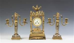 French Gilt Bronze  Crystal Three Piece Clock Set