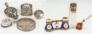Group of Silver Items, Opera Glasses, Scent Bottle &