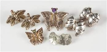 Vintage Sterling Silver Earrings  Pins
