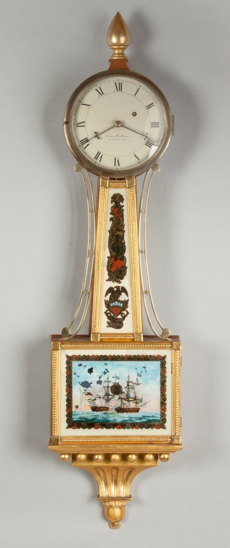 Elmer O. Stennes Gilt Front Banjo Clock