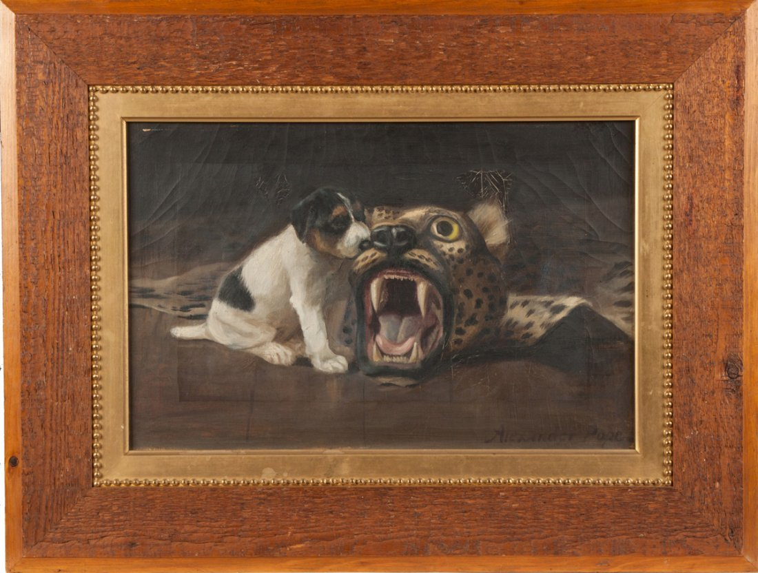 Alexander Pope (American, 1849-1924) Dog with leopard