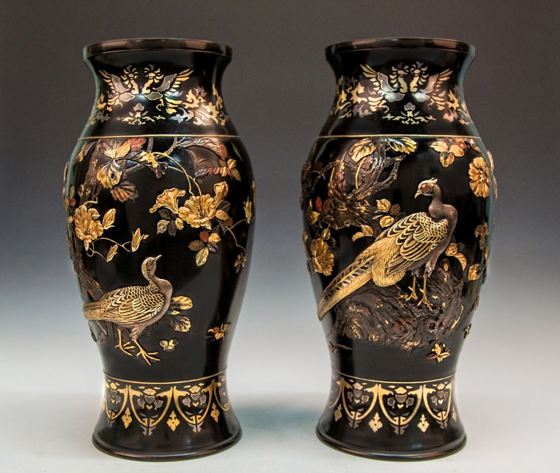 Pair of Fine and Rare Monumental Japanese Meiji Mixed