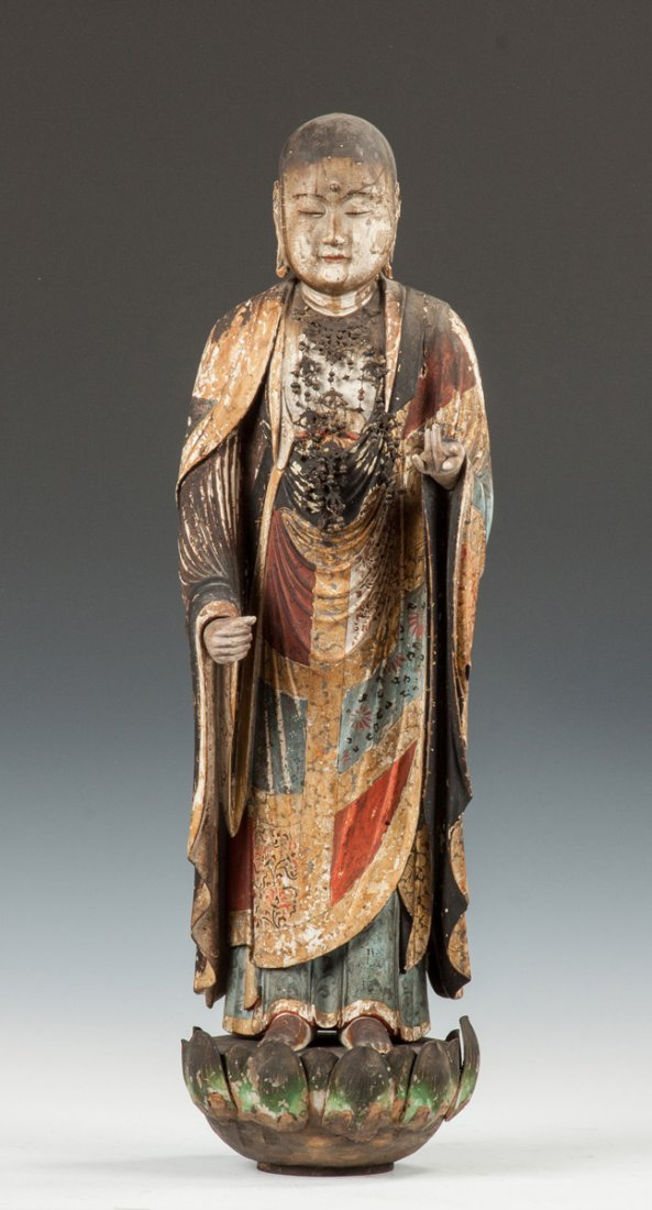 Early & Rare Carved & Polychromed Japanese Figure of