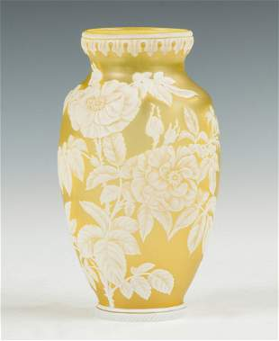 Thomas Webb & Sons Cameo Vase with Roses