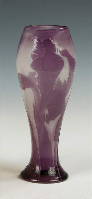 Galle Cameo Vase with Bearded Iris