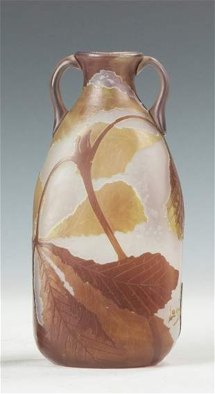 Legras Cameo Vase with Leaves