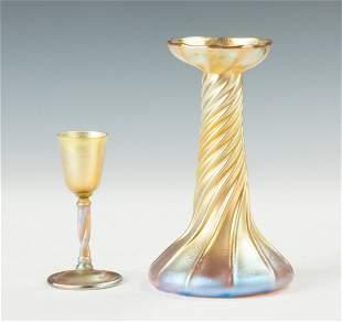 Tiffany Gold Iridescent Cordial & Candlestick Lamp Base