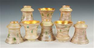 Eight Lustre Art Glass Shades