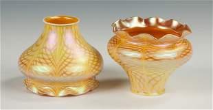 Pair of Steuben Gold Iridescent Art Glass Shades