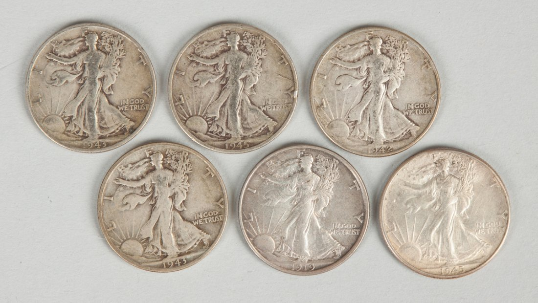 Group of Six Standing Liberty Half Dollar Coins
