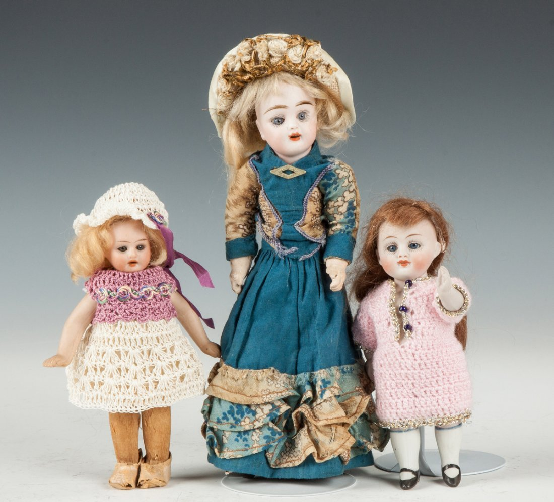 Three Miniature German Bisque Dolls