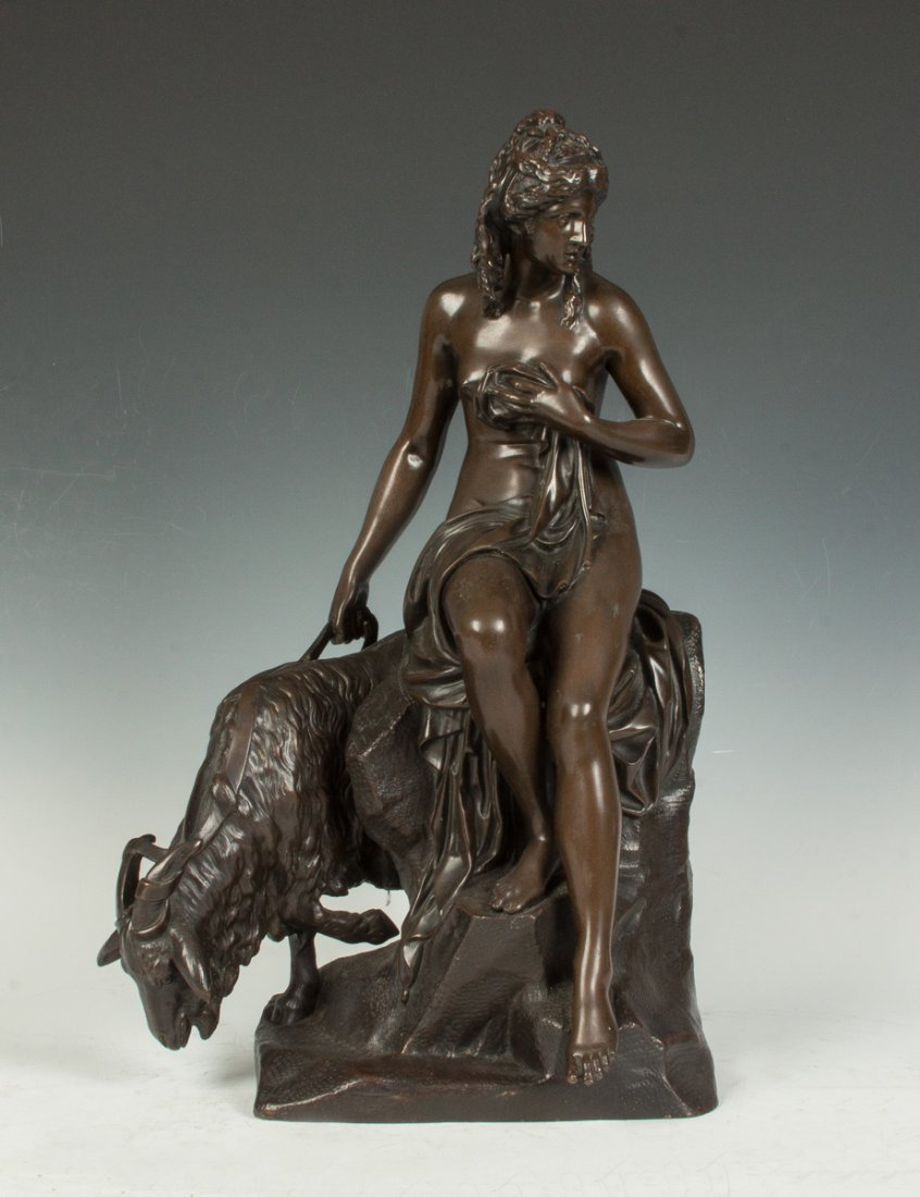 Bronze Sculpture of a Young Lady with Goat