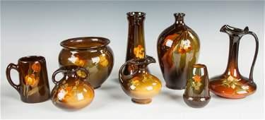 Eight Pieces Weller & J.B. Owens Utopian Pottery