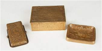 Tiffany Studios Bronze Paper Clip, Gilt Desk Box & Gilt