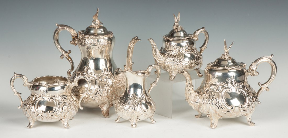 Five Piece English Sterling Silver Tea Set