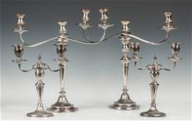 Two Pair of Silver Plate Candelabras