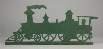 Painted Sheet Iron Locomotive Weathervane with