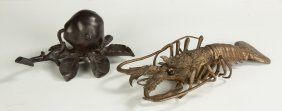Patinaed Iron Inkwell & Brass Lobster Stamp Box