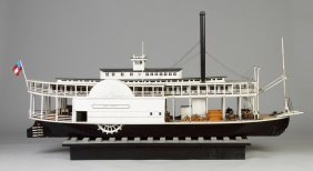 """""""the Paul Jones"""" Carved And Painted Wood Riverboat"""