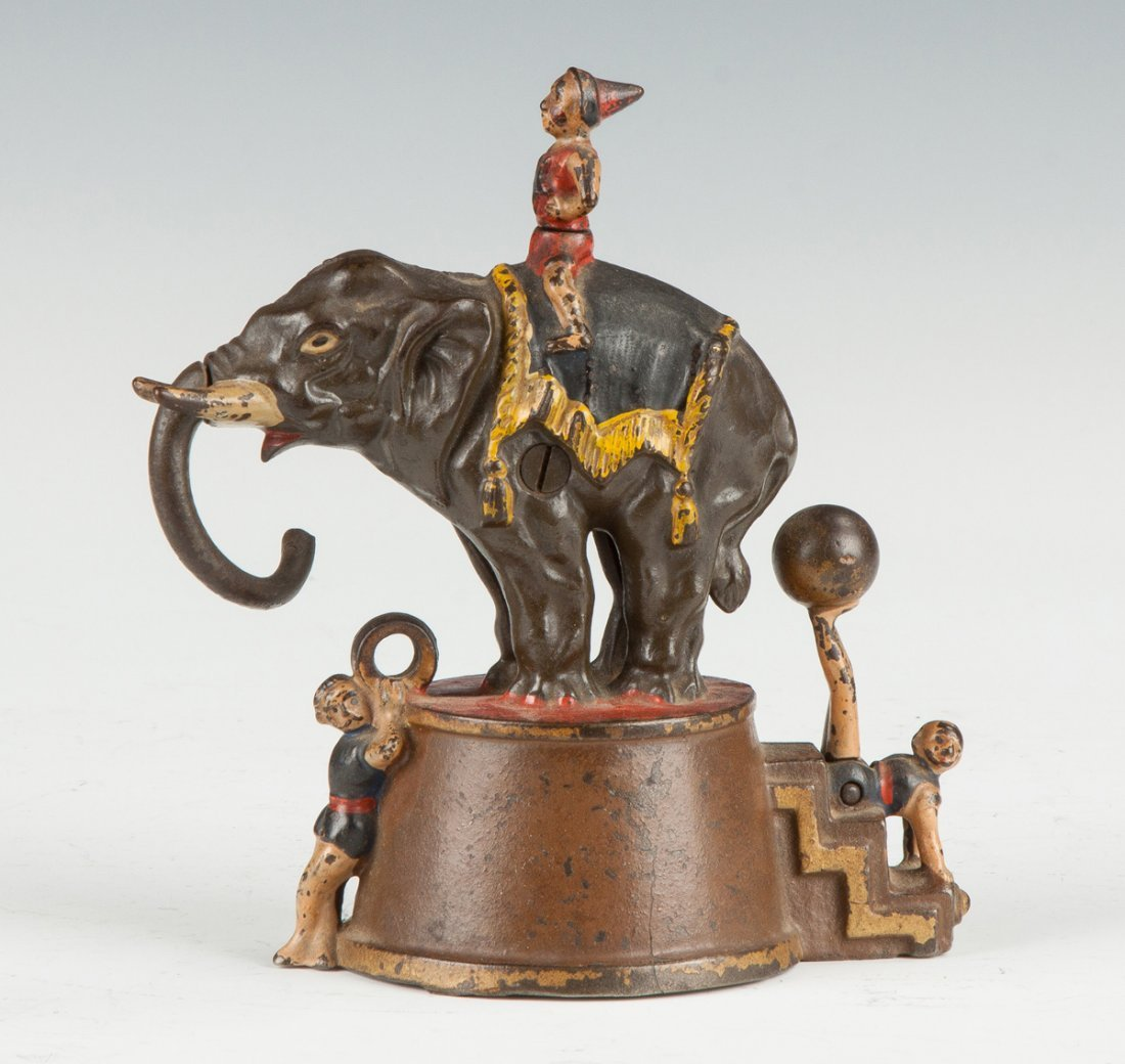 Mechanical Elephant & Three Clowns Bank