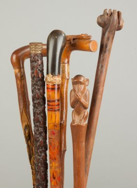 Group Of Six Vintage Carved Wood Canes