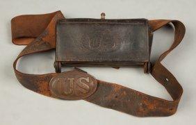 Us Civil War Belt Buckle, Belt & Cartridge Box