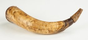 Jacob Kugler Stepped & Carved Fish Mouth Powder Horn,