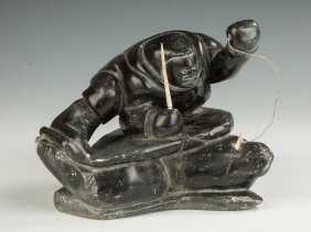 Inuit Carved Soapstone Of A Seal Hunter