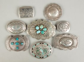 Group Of Eight Vintage Navajo Silver Buckles