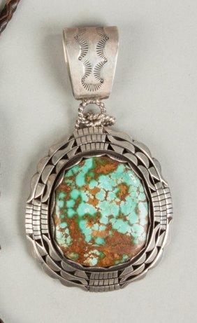 Vintage Navajo Silver & Turquoise Pendant