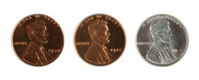 Three Lincoln Wheat One Cent Coins