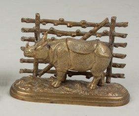 Brass Rhinoceros Inkwell