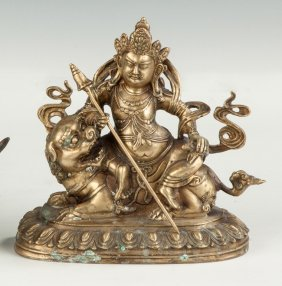 Asian Brass Figure On A Guard Lion