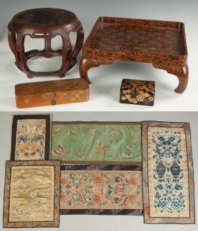 Group Of Asian Items Together With Chinese Silk